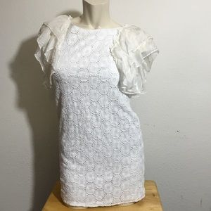 White patterned blouse with tier sleeves